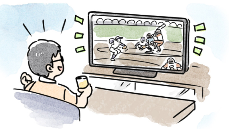 パパは野球観戦により熱中