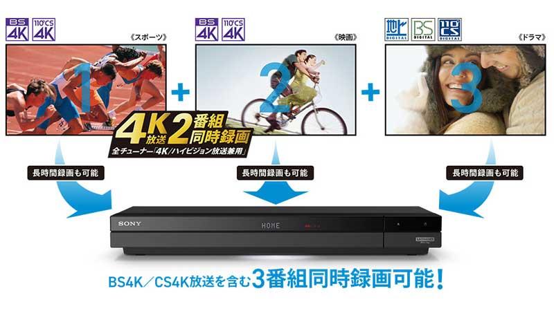 4K放送の2番組同時録画対応(地上/BS/110度CS放送含むと3番組同時録画)